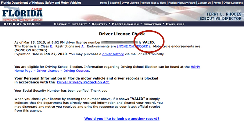 Florida department of motor vehicles license check for Florida highway safety and motor vehicles phone number